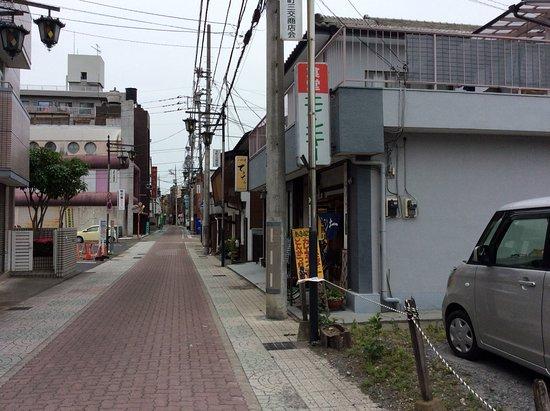 Honjo, Japón: 三交通りを駅から歩いて右手