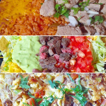 Redlands, CA: Chile Verde Pork Dinner, Taco Salad, Machaca Breakfast Plate