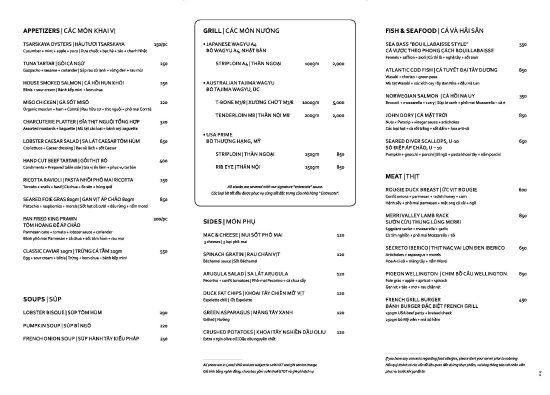 French GrillS Menu  Picture Of French Grill Hanoi  Tripadvisor