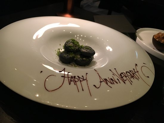 Sepia: Our happy anniversary dessert - chocolate 'pebbles' filled with fruit cream