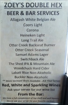 Manchester, VT: No beer available on Draft. Sample bottle beer menu May, 2017.