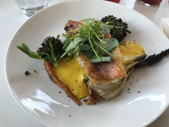 Stege, Danmark: Grillet fennikel,gulerødder, stegt rødfisk, safran skum, broccoliskud og små nye kartofler