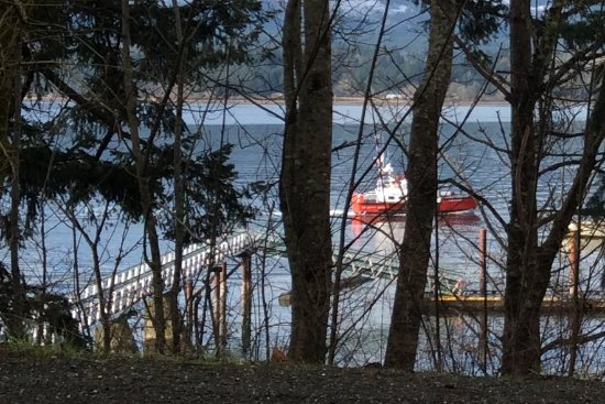 Denman Island public dock & passing Coast Guard ship.