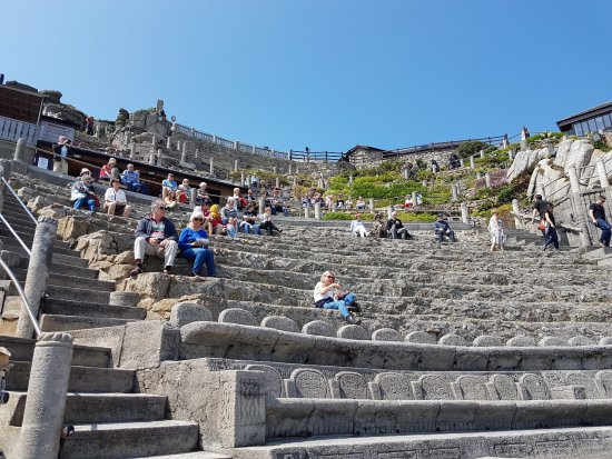View of the Minack Theatre from the stage area looking back up.