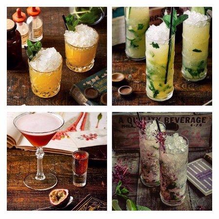 Alderley Edge, UK: Curious Cocktails including; Apricot and Peach Smash, English Mojito, Botanist Pornstar Martini