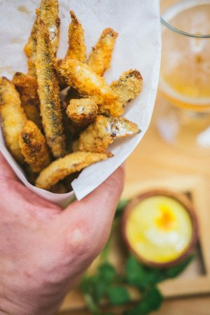 Alderley Edge, UK: Crispy Whitebait disted with Cayenne and served with Saffron Mayo