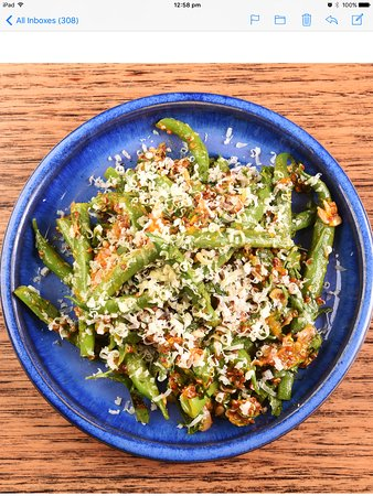 Hepburn Springs, Australia: Green beans, roasted pumpkin, pickled sultanas and quinoa
