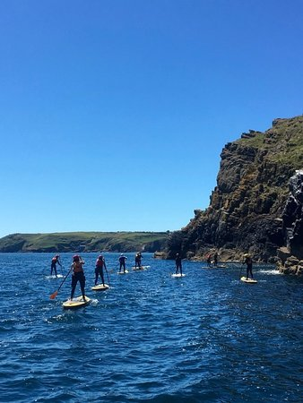 Lizard, UK: Travelling on a paddle board