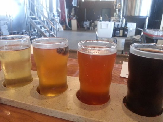 Burdett, NY: Flight of beers at Grist Iron Brewing.