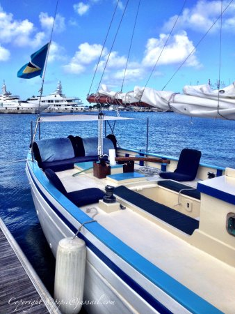 Gros Islet, St. Lucia: Our Carriacou Sloop Good Expectation. Your comfy seats awaits ...
