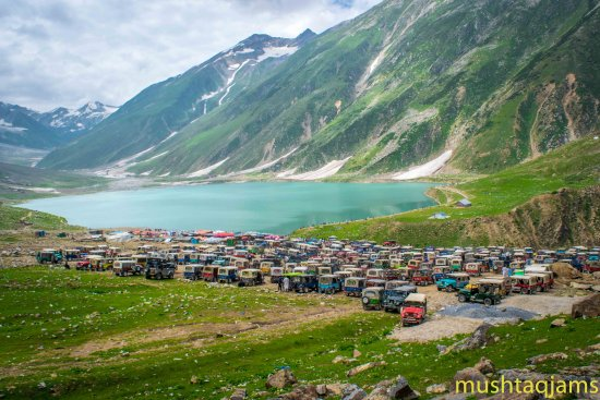 Naran, Pakistan: Count the jeeps on lake. (Last summer,