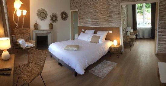 Broglie, Франция: Chambre Bambou, salle de bain et espace salon