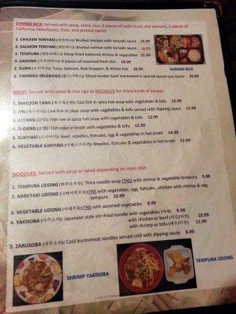 Sushi 21: menu page for dinner boxes, noodles & soup
