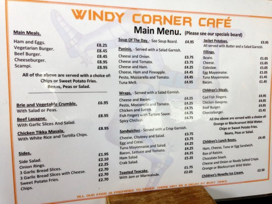 Bridport Cafe Menu
