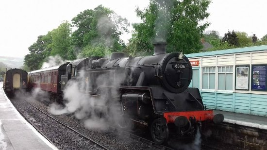 North Yorkshire Moors Railway: LMS engine at Grosmont Station