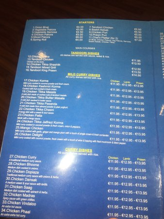 Charlestown, Irlanda: Rice, nan, chicken tikka and prawn butter tikka mains seekh kebabs and prawn poori and menu