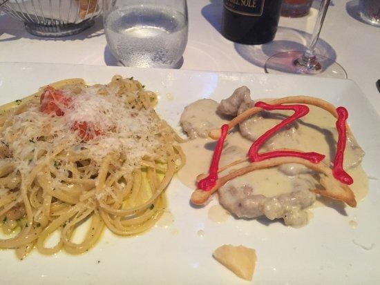 IZI Ristorante Italiano: Veal gorgonzola with linguini aglio olio