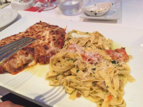 IZI Ristorante Italiano: Chicken parm with fettuccini aglio olio