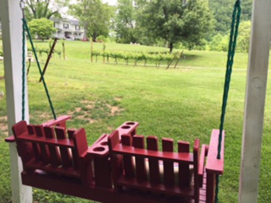 Lovingston, VA: Our new swing over looking the pond, vineyard, and mountains has been quite a hit with our guest