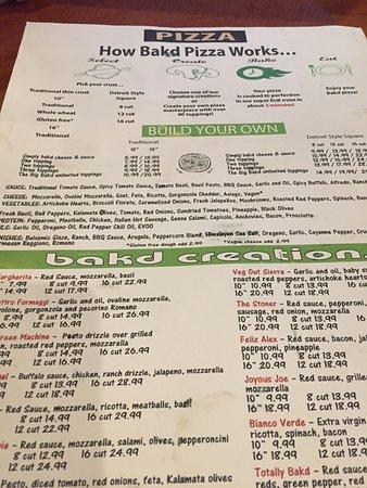Robinson, Pensilvania: the menu