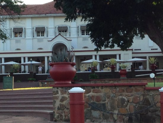 The Victoria Falls Hotel: view looking towards veranda