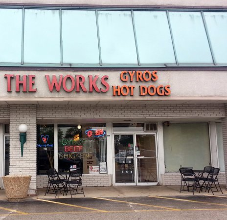 Glenview, IL: front of, outdoor seating and the entrance to The Works