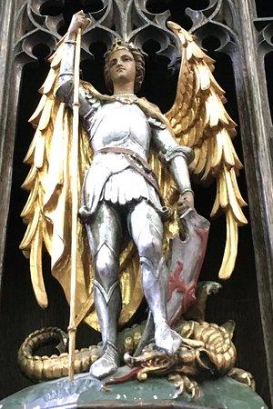 St. Michael the Archangel sculpture inside the Michael the Archangel chapel, Salisbury Cathedral