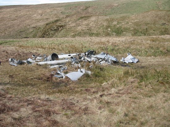 Castle Coaching Inn: I ran a navex near Fan Hir to locate the wreckage of this DH Vampire jet fighter