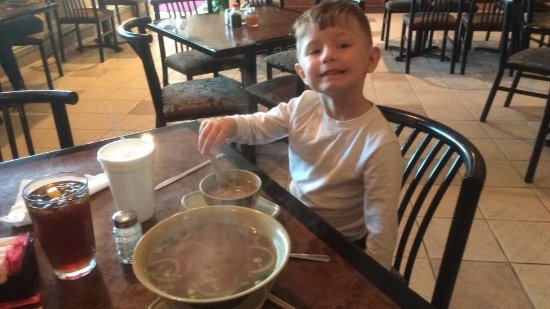 "Dickinson, TX: My 4 year old with his ""Jr"" Pho!"