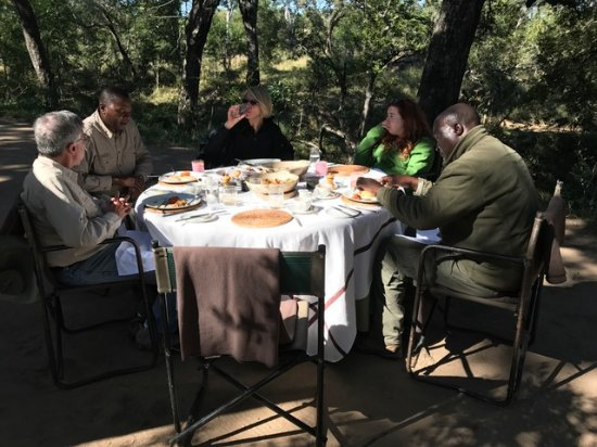 Singita Boulders Lodge: A surprise al fresco breakfast prepared for us on a morning safari!