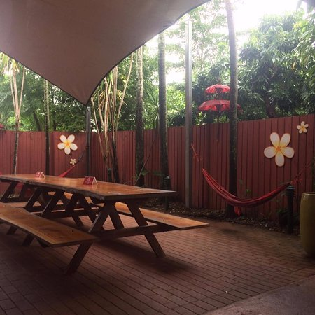 Travellers Oasis Backpackers: Outside picnic tables featuring hammocks
