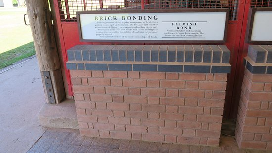 Bromsgrove, UK: Different types of brick wall in the brick making section
