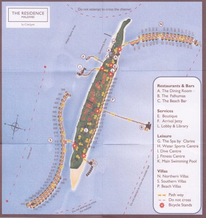 The Residence Maldives: Map of island