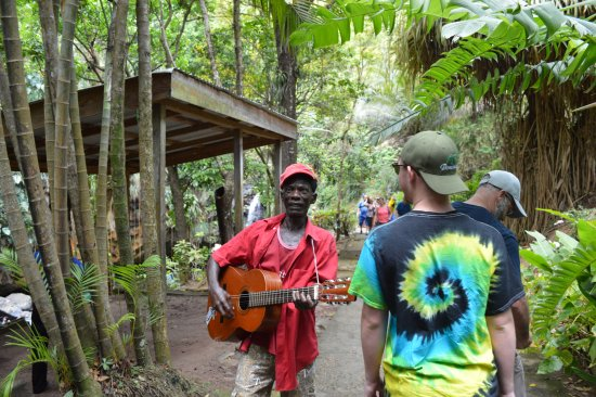 Annandale Falls: guying following us singing and playing guitar then asked for tips.