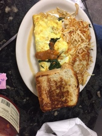Marble Falls, TX: vegetarian omelet with chili
