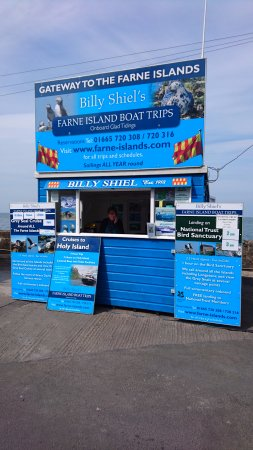 Billy Shiel's Boat Trips Stall at the harbor of Seahouses seaside village