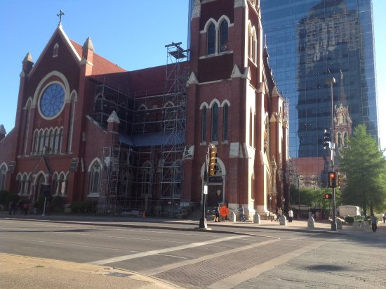 The Fairmont Dallas: The Cathedral Shrine of the Virgin Guadalupe Shrine Church.