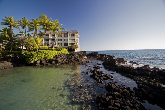 Hale Kona Kai Condominiums: View looking south to Hale Kona Kai from the lagoon between us and the Royal Kona Resort.