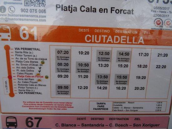 Cala'n Forcat, Hiszpania: CALA FORCAT BUS STOP