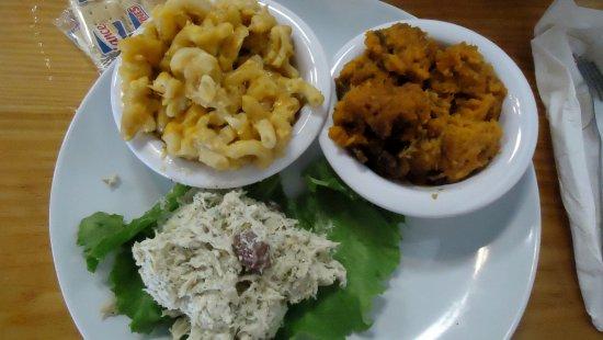 Bakers Kitchen: Chicken salad, sweet potato casserole & mac n' cheese.