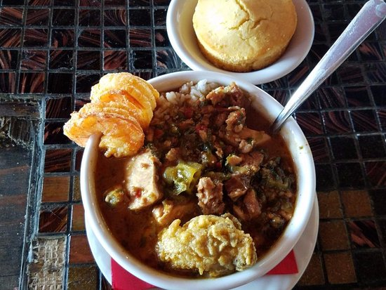 Surfside Beach, TX: Seafood Gumbo - Two Fried Shrimp and Fried Oyster on Top