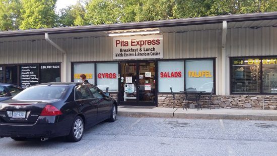 Pita Express: View from the parking lot.