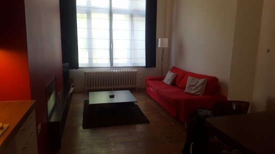 Bed and Breakfast Leopold II: Living area from kitchen. Sofa bed