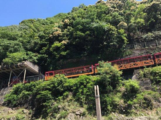 Kameoka, Japón: 上を走るトロッコ列車が見られます