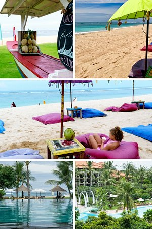 Ayodya Resort Bali: Pool and beach areas.