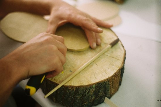 Martinborough, New Zealand: Wood rounds as cutting blocks - perfect!