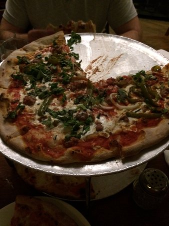 John's of Times Square : Large Margarita pizza with sausage, green peppers and onion.