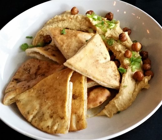 South Glens Falls, NY: Lemon Hummus w/ fried chick peas & curried pita bread.