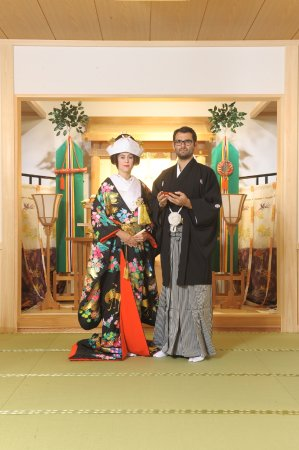 Kisarazu, Japan: Guests from Spain photographed with Japanese traditional marriage kimono