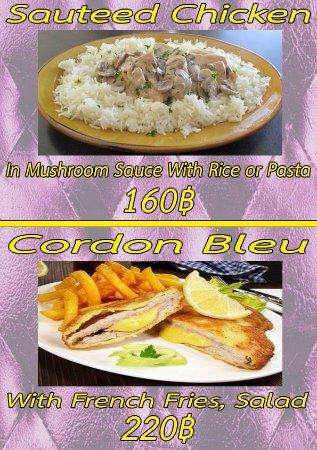 เมืองสกลนคร, ไทย: Souted Chicken, Cordon Bleu